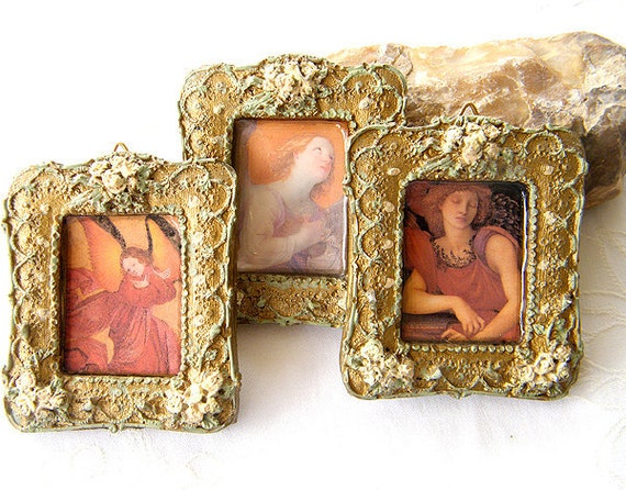 Angels  pictures, Gold frames decor,  Miniature Pictures,  Home wall  Decor, Holiday decor, Country Decor,Shabby Chic Decor