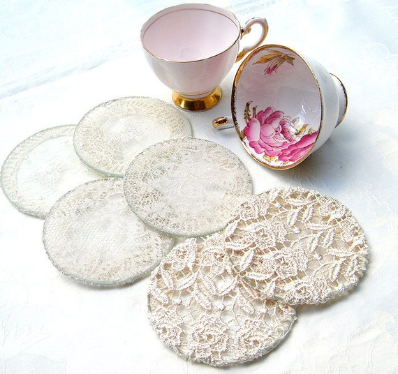 Crochet,Lace - Cup Coaster set. Vintage ,Antique  Elegant  coasters for tea party.