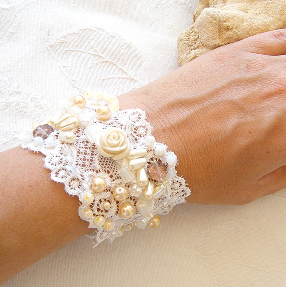Bridal Cuff, Romantic Wide Cuff  Bracelet, Floral Bridal Jewelry, Vintage  Cuff maid from Antique Lace, Embroidered Beads, Pearls & Roses