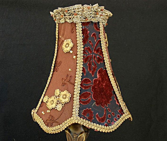 Reserve order for Michelina-LAMP SHADE -  in Bordeaux gold brown, color and antique lace. Housewares chic, romantic , handmade