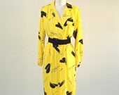 Vintage 80s dress BUMBLEBEE yellow and black belted secretary - M/L