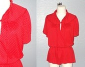 Vintage 70s top RED DOTTED oversized keyhole tunic - M/L/XL