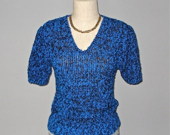 Vintage 80s sweater blue and black FUZZY KNIT short sleeve - S/M