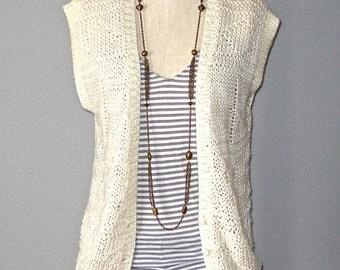 Vintage indie hipster COZY CREAM oversized sweater vest - M