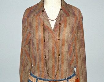 Vintage boho RUSTY GEOMETRIC print button up blouse - M