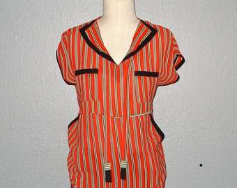 Vintage 80s hipster blouse NAUTICAL STRIPED tunic with pockets - M