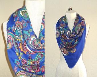 Vintage boho scarf BLUE PAISLEY oversized