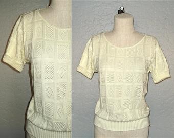 Vintage boho sweater CREAM KNIT pointelle short sleeve - S/M