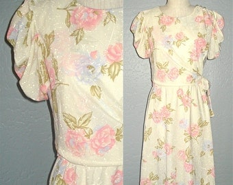 SALE - Vintage 70s dress cream ROSE GARDEN day dress - M