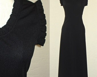 Vintage 60s dress BLACK RUFFLE trim sleeveless maxi - M/L