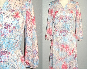 SALE Vintage 70s boho dress PALE PINK retro floral peasant sleeve - S