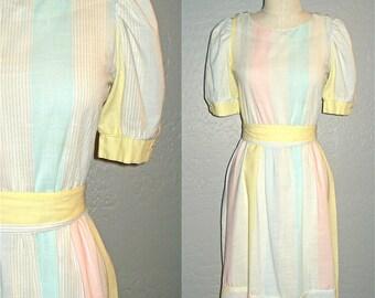 Vintage PASTEL STRIPES cotton day dress - S/M