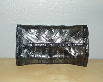Vintage 80s bag NAVY EEL SKIN envelope clutch with shoulder strap