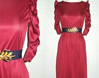 Vintage 70s dress BURGUNDY WINE disco rouched sleeve - XS/S