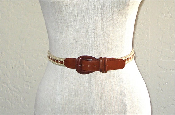 Vintage belt brown LEATHER & TWINE skinny boho - S/M