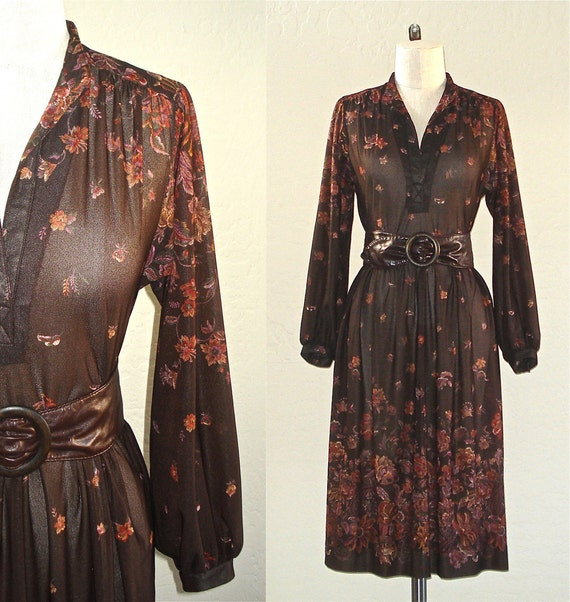 Vintage 70s dress BOHO BROWN long sleeved retro floral print - M