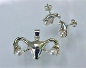 Uterus / Womb Pendant in Silver and Pearls