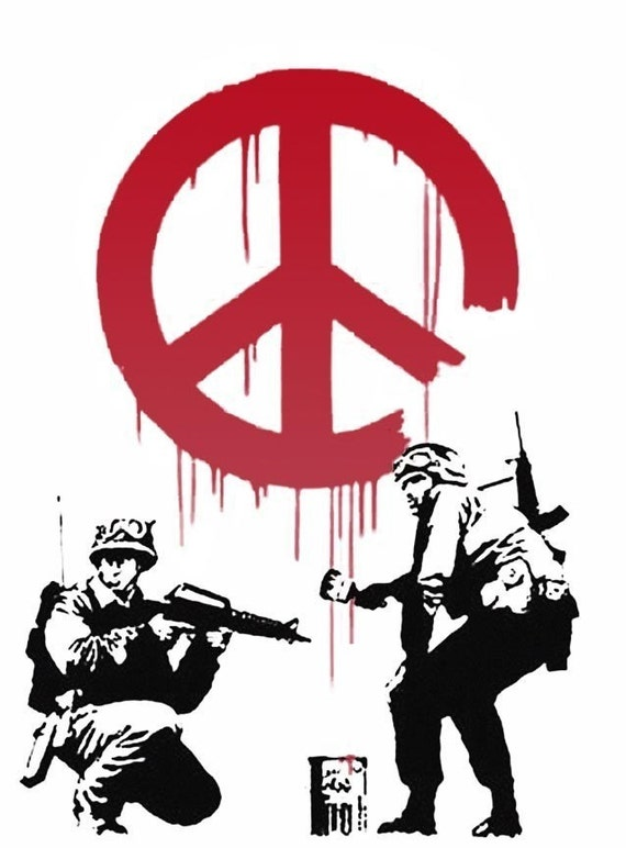 Banksy Custom Print 18x24 - Soldiers and Peace
