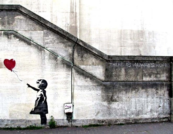 Banksy Custom Print 18x24 - There Will Always Be Hope / Balloon Girl