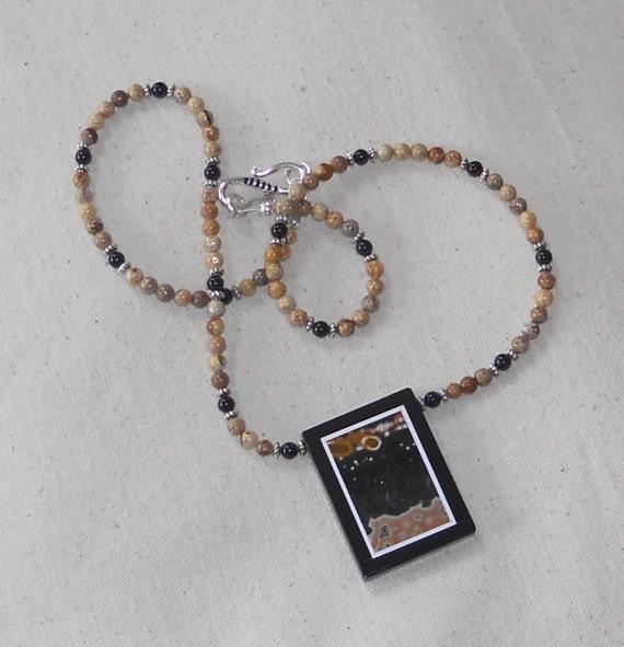 "SALE!  black and tan ocean and picture jasper intarsia necklace 20"" long pietra dura semiprecious stone jewelry 271"