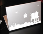 NYC : WALL DECAL - Watertanks Skyline of New York City with Chrysler bldg top, pigeons, cat and factory for laptop, computer, tablet.