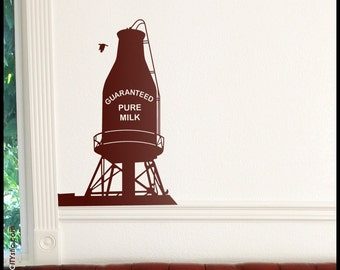MONTREAL WALL DECAL : Canadian Pure Milk Water Tank Downtown Montreal, Quebec. Icon of Montreal, Canada