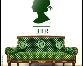 UK : Wall Decal - New size and cheaper - Queen Elizabeth 2 silhouette shape as in stamps 'EIIR'.