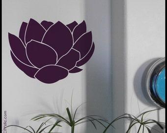 LOTUS  - WALL DECAL : Set of 3 Lotus Flowers opening as in Asia, big petals, zen attitude