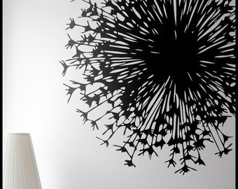 Big Flower Dandelion  WALL DECAL : Giant Dandelion Close up, A decorative Explosion in your nursery, kid decal