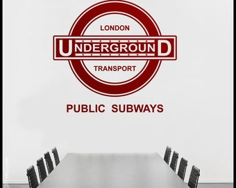 LONDON - WALL DECAL : Underground Sign - Old Fashion Panel, 50s style with stars