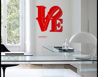 NYC :  WALL DECAL - Red Love sculpture of Robert Indiana. New York City, Philadelphia