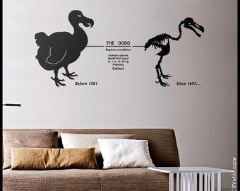 ANIMAL WALL DECAL : Dodo wall decor, Mauritius Extinct bird with dates and skeleton sticker
