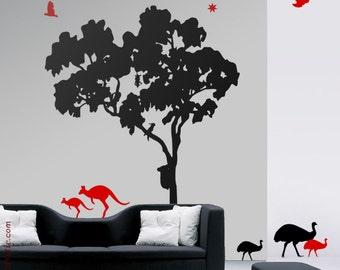 Gum Tree WALL DECAL : Gum tree (Eucalyptus) animals (kangaroos, cacatoes, emus, koala) nursery decal, Tree decal