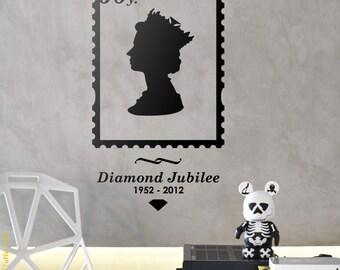 QUEEN WALL DECAL : Queen Jubilee 60 years Stamp, Queen Elizabeth Face silhouette, crown, vinyl, sticker