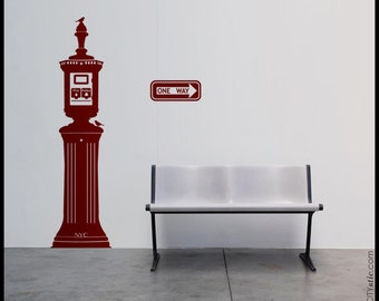 NYC - WALL DECAL : Fire Bell Alarm Emergency Police Firemen. Birds, sparrows sticker. Free One Way sign decal