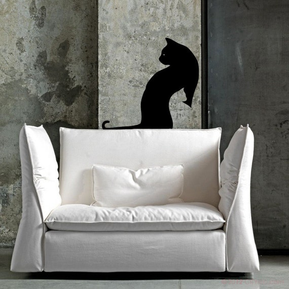 ANIMAL : Double Cat, two cats in negative, shadow, - WALL DECAL