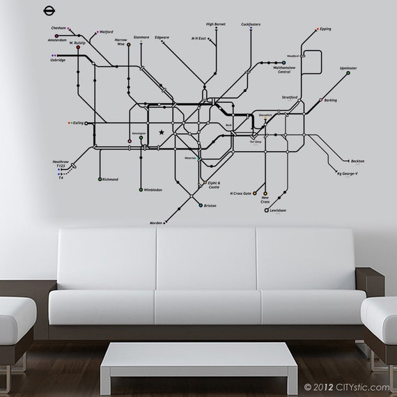LONDON  WALL DECAL Huge Underground Tube map with color dots for subway lines names