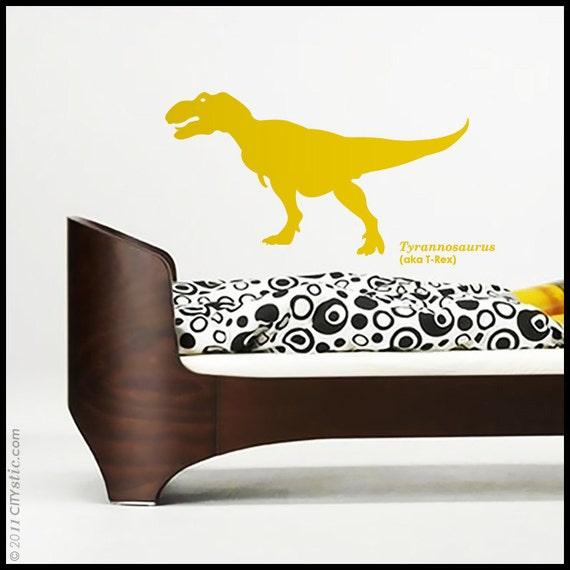 DINOSAUR : Mean Tyrannosaurus Rex (aka T-Rex) running chasing. Kid or nursery - WALL DECAL