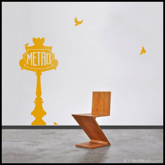 PARIS Metro WALL DECAL - Metro Sign 1 Panel decal - Old fashion Champs Elysees decor, vinyl sticker