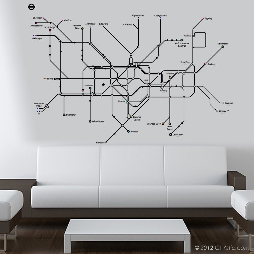 london wall decal huge underground tube map with color dots london skyline vinyl wall art sticker decal mural ebay