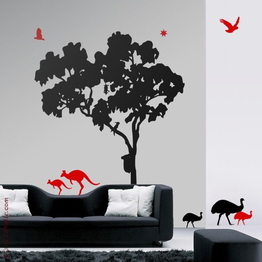 Wall Art Stickers Gumtree : Gum tree wall decal eucalyptus animals