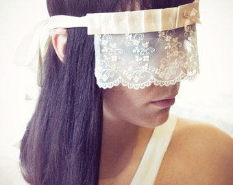 SALE - ONE LEFT -  Bridal Lace blindfold in ivory cream with Crystals by Love Me Sugar