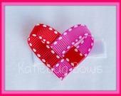 Woven Heart Ribbon Sculpture Clippie - You Pick Your Colors - Heart Hair Bow Clip - Etsykids Team