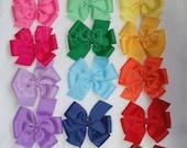 Pinwheel Hair Bows   Pick Six Solid Colors   Mix and Match   Extra Large Hair Bows   Discounted   Hair Bow Lot   Six Hair Bows