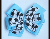 Soccer Hair Bow   Pick Solid Color   Extra Large 5 inch Layered Soccer Bow   Stacked Hair Clip   Soccer Bow