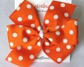 Extra Large Orange with White Polka Dots Pinwheel Bow - Clemson Auburn UVA VT - Etsykids Team