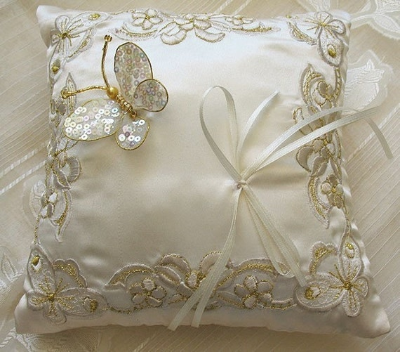 Butterfly wedding Ring bearer  pillow off white - can be customized - color