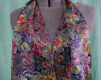 Vintage 30s Womens Suit Jacket or Dress Scarf Ornate Silk Charmeuse Multi-color Violet Reversable Lining Art Deco