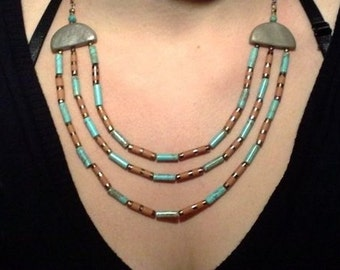 3 Strand elegant turquoise and faience beads necklace in ancient Egyptian style - Gift For Her- in black wooden gift box