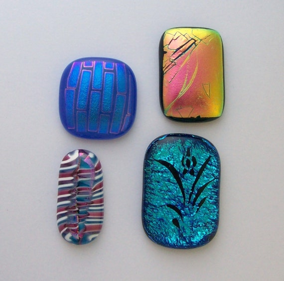 Dichroic Fused Glass Cabs 8564